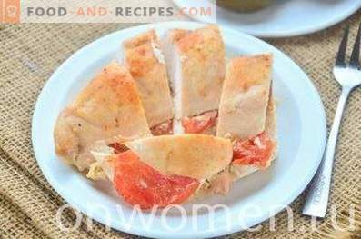 Chicken breast baked with tomatoes in kefir
