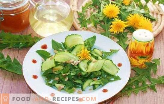 Maskrosbladsalat är nästan ett läkemedel! Varianter av maskrosbladsalat med ost, grönsaker, ägg, frukt, nötter